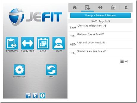 JEFIT App - Routines