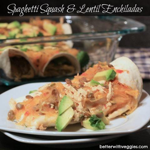 Spaghetti Squash & Lentil Enchiladas #vegetariann #vegan